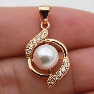 18k Gold Filled - Clear Zircon Pearl Swirl Cross Hollow Circle Ball Lady Pendant