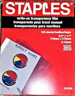 "Staples SL5260 Write-on Transparency Film 100 Sheets - 8.5"" X 11"" Brand New"