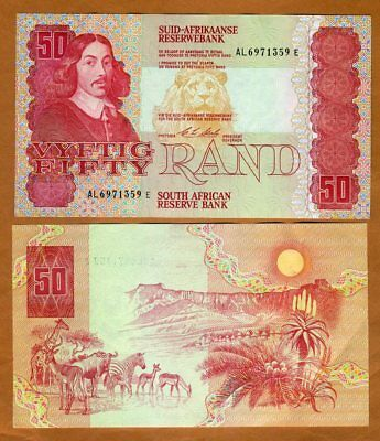 South Africa, 50 Rand ND (1990) P-122b, AL-Prefix aUNC > Lion