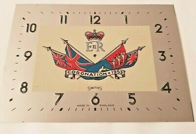 SMITHS CLOCK DIAL CORONATION 1953/ Face X 1 VINTAGE OLD NEW STOCK 11 cm BY 15