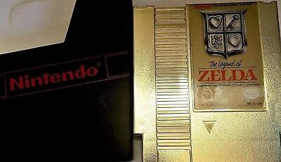 Legend of Zelda Gold 3 Screw Nintendo Video Game Cart W/ Nes Dust Cover EUC!