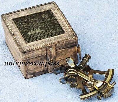 Maritime Collectible Antique Finish Brass Sextant Nautical Marine W Wooden Box