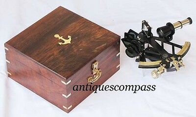 Collectable Nautical Brass Micrometer German Working Sextant  W/ Anchor Box