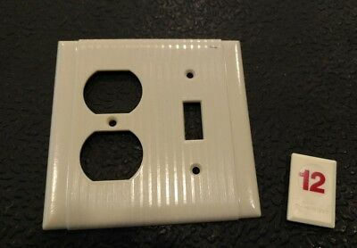 1 Ivory Vtg Ribbed Deco 2 Gang Single Switch One Outlet Bryant Plate Cover - R12