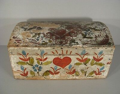 Antique Set Wedding Norman (?) Wooden Painted a Decor Hearts
