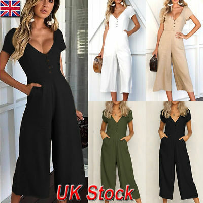 UK Womens Summer Holiday Playsuit Dress Jumpsuit Clubwear Wide Leg Pants Outfits