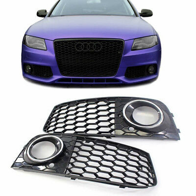RS4 Style Honeycomb Mesh Fog Light Lamp Grills Cover For Audi A4 B8 2009-2012