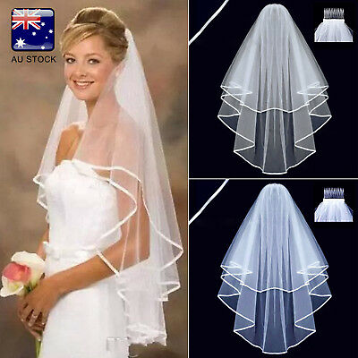 AU-STOCK 2Layer White Wedding Prom Bridal Veil Satin Edge With Comb Elbow Length