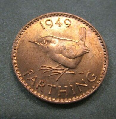 1949 English Copper Farthing UNC