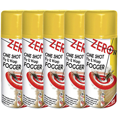 5 x STV One Shot Fly & Wasp Killer Fogger Spray Insect Control Fumigator 150ml