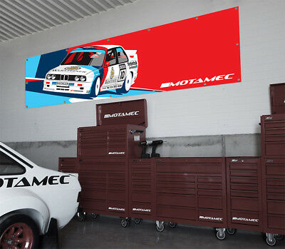 Motamec BMW Racing E30 M3 DTM Touring Car Large Wall Banner for Garage & Worshop