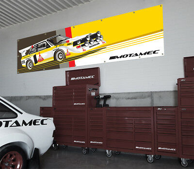 Motamec Audi Quattro S1 Group B Rally Car Large Wall Banner for Garage & Worshop