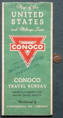 1930s Conoco Oil Gas station United States road map-Chester,Pennsylvania Ferry!