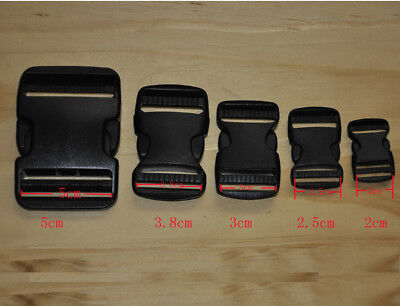 Black Plastic Clasp Side Release Buckle 0.8/1/1.2/1.5/2Inches Webbing Strap