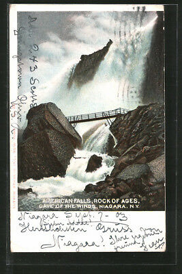 AK Niagara Falls, NY, Rock of Ages, Cave of the Winds, Wasserfall und Brücke
