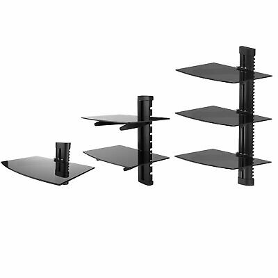 1-3 Tier Black Wall Mounted Floating Shelf Glass DVD Player Game Console Sky Box