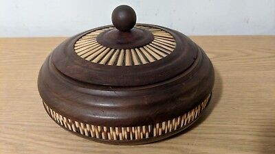 Vintage GHIDEI TEDLA Olive Wood & Porcupine Quill Lidded Round Box / Bowl