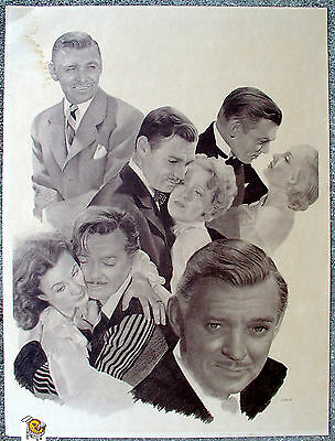 """Vintage Clark Gable Poster by Chaplan 18""""x24"""" Art Print Gone with the Wind Film"""