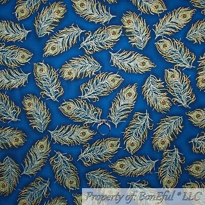 BonEful FABRIC FQ Cotton Quilt Navy Blue Peacock Feather Gold Metallic Realistic