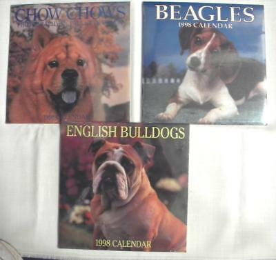 3 Unopened 1998 Calendars: BEAGLES, ENGLISH BULLDOGS & CHOW CHOWS!