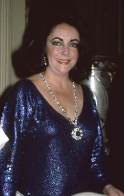 ELIZABETH TAYLOR Original Candid 35mm Photo Slide Transparency blue dress