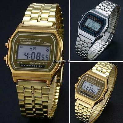 Men Stainless Steel Band LCD Digital Wrist Watch Sport Square Quartz EHE8 01