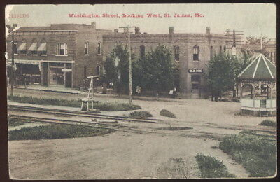 1909 Picture Pc, Washington St. Looking West, St. James, Mo. Bank, P.o. Stores+