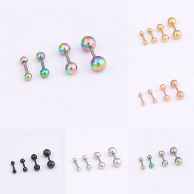 2x Stainless Steel Cartilage Barbell Ear Tragus Helix Stud Bar Earring Piercing