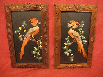 PAIR OF Mid Century Cartimex Mexican Feathercraft Art Pictures   10 x 6 inches