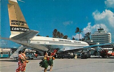 1966 Continental Airlines Golden Fan Jet at Honolulu Airport, Hawaii Postcard