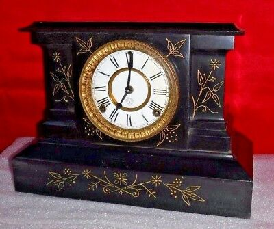 Antique Ansonia Fancy Iron Mantel Cabinet Chime Clock 8-Day New York Working
