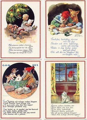 4 NEW Assorted Swedish Christmas Postcards by Jenny Nystrom Tomte Gnome