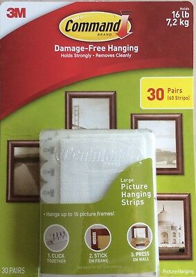 3M Command Damage Free Large Picture Hanging Strips 30 Pairs (60 strips)