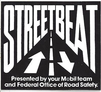 Street Beat Sticker 1980's Mobil Federal Office Of Road Safety