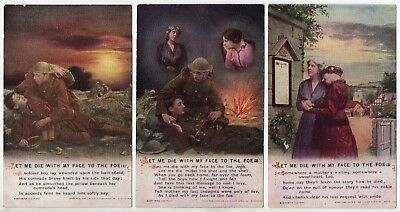 Bamforth Song Card * Let Me Die With My Face To The Foe * Set Of Three 4997 *f43