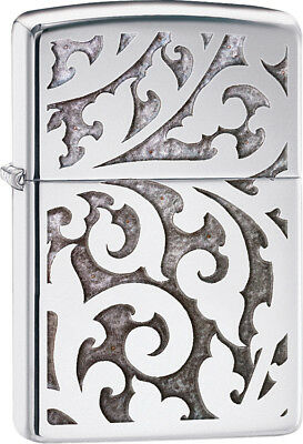 Zippo 28530 Filigree High Polish Chrome Floral Windproof Classic Lighter