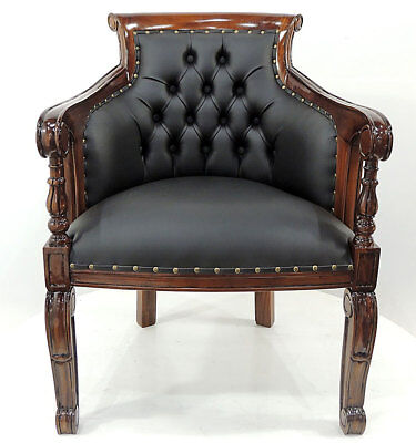 Englischer LESESESSEL CLASSICAL BLACK CHESTERFIELD CHAIR massiver MAHAGONI STUHL