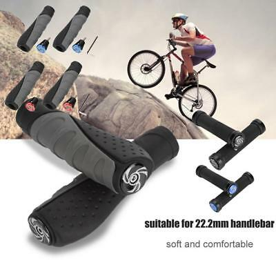 Anti-slip Double Lock-On Mountain Bike Cycling Handle Bar Grips Rubber Soft Grip