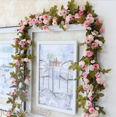 2.25m Artificielle Rose Guirlande de soie Fleur Mariage Party Home Decor