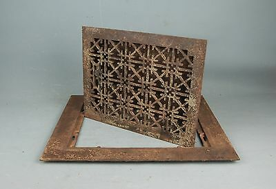 """Antique Iron 2 pc Heat REGISTER VENT GRATE Frame 18""""x15"""" Tuttle & Bailey NY 1875"""