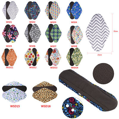 S/M/L/XL Reusable Charcoal Bamboo Cloth Sanitary Pad & Washable Wet Bag Pouch ZL