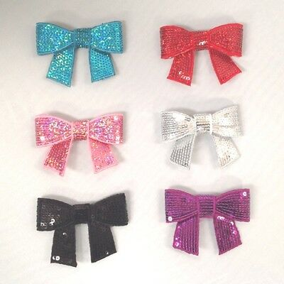 BOWS Sequins 7cm Glittery Embroidered Sew on Dance Applique Dressmaking Costume