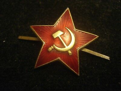 MILITARY RED STAR USSR Russian REAL HAT CAP PIN BRONZE ENAMEL SOVIET WWII