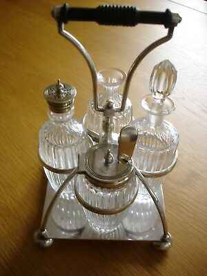 Antique Late 1800 Victorian Silver Plate Cut Glass Condiment Table Set Rd 87078