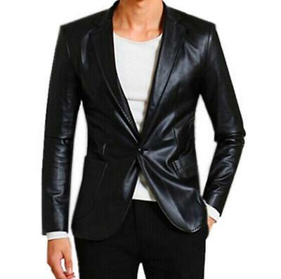 Men Faux Leather Single Breasted Coat Soft Slim Business Blazer One Buckle 2Colo