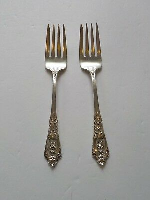 Pair Wallace ROSE POINT Sterling Silver Salad Forks