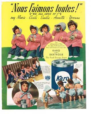 1939 Full Page Magazine Dionne Quintuplets Ad- Karo Syrup
