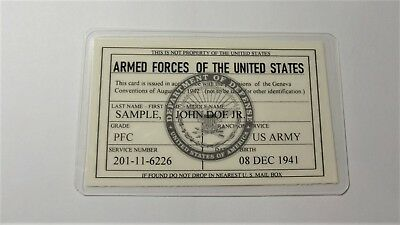 Armed Forces of the United States Geneva  Card  Army Navy USMC USAF