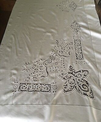 Antique Cutwork Embroidered Linen Layover Pillow Sham Table Runner 32W x 90L