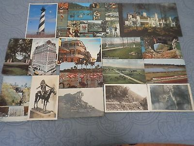 15 Vintage Postcard Mixed Lot: 1915 to 50's Misc. Places, some Black & White